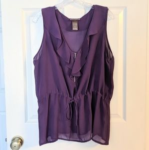 Miss Tina Purple Ruffle Zip V-Neck Top 2XL